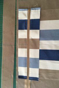 Etape 1 assemblage du zip à la doublure.