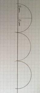 Demi cercle de 2 cm de diametre.