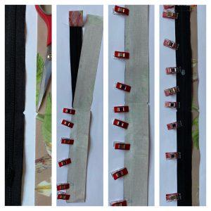 Assemblage du zip a la bande de 4 cm du sac polochon.