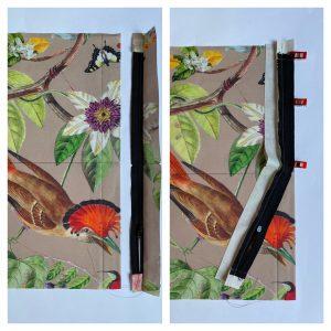 Epingler la bande de 4 cm au rectangle de 14 cm.