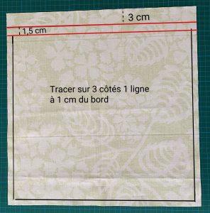 Tracer une ligne a 1 cm du bord du grand sac a salade avec son filet interieur amovible.
