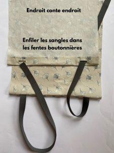 passe as alças pelas aberturas da sacola e da mochila.